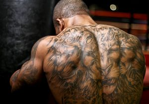 Full tattoo on man's back in Kentucky.